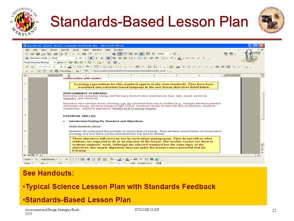 Standards-Based Lesson Plan