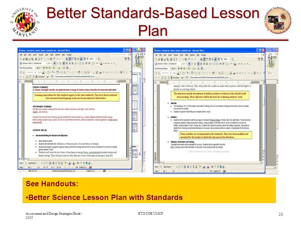 Better Standards-Based Lesson Plan