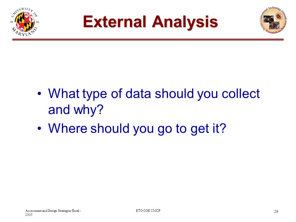 External Analysis What type of data should you collect and why