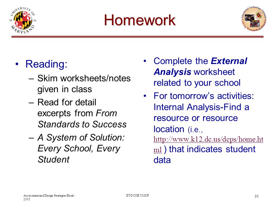 Oak Hill Academy - 2003 10/29/03. Homework. Complete the External Analysis worksheet related to your school.