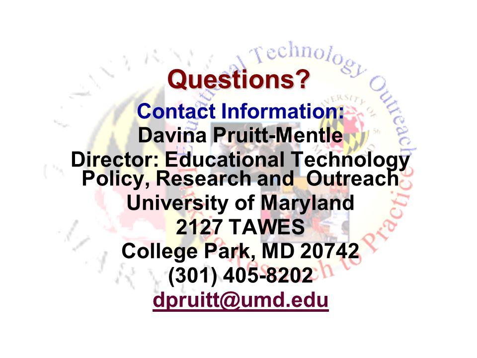 Oak Hill Academy - 2003 10/29/03. Questions Contact Information: Davina Pruitt-Mentle.