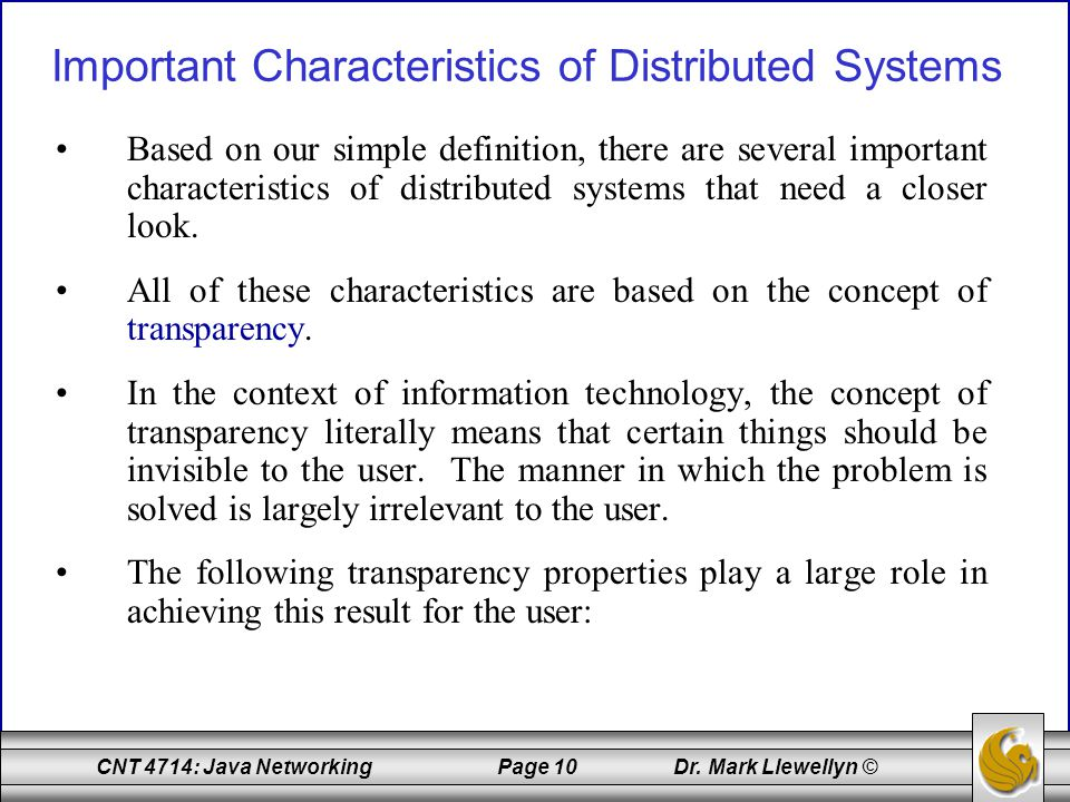 Important Characteristics of Distributed Systems