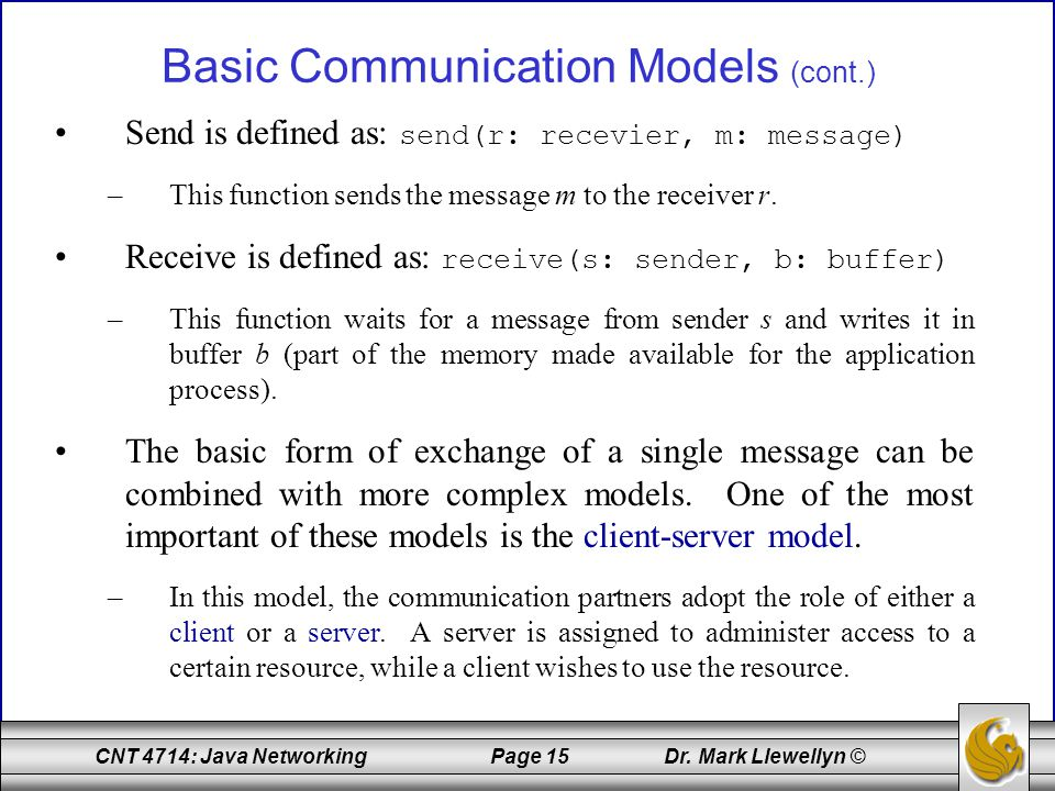 Basic Communication Models (cont.)