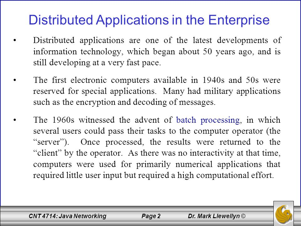 Distributed Applications in the Enterprise