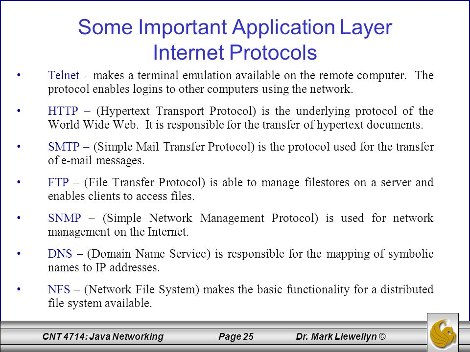 Some Important Application Layer Internet Protocols