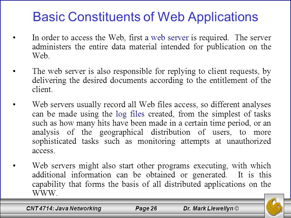 Basic Constituents of Web Applications