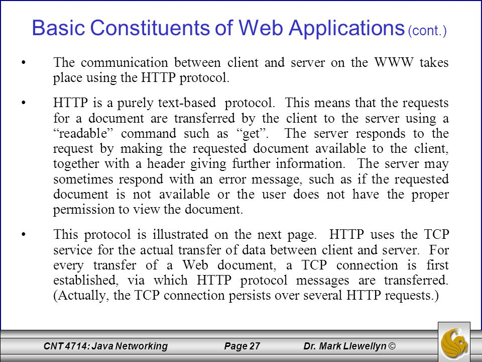 Basic Constituents of Web Applications (cont.)