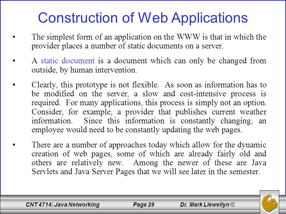 Construction of Web Applications