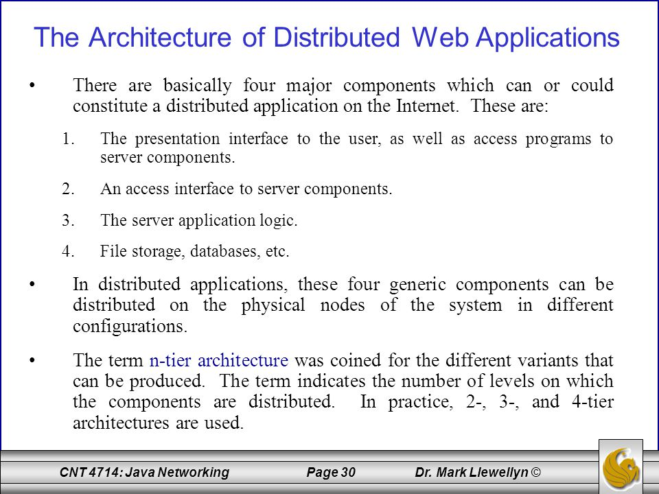 The Architecture of Distributed Web Applications
