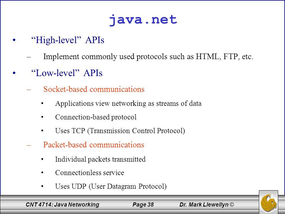 java.net High-level APIs Low-level APIs