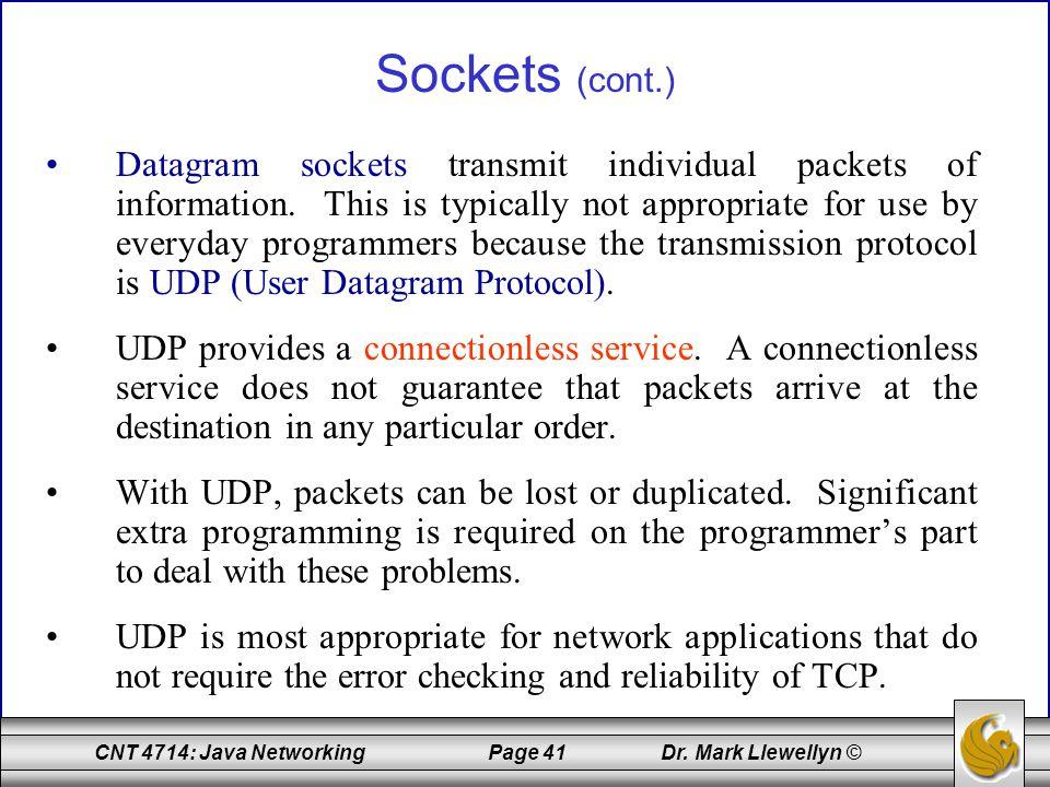 Sockets (cont.)