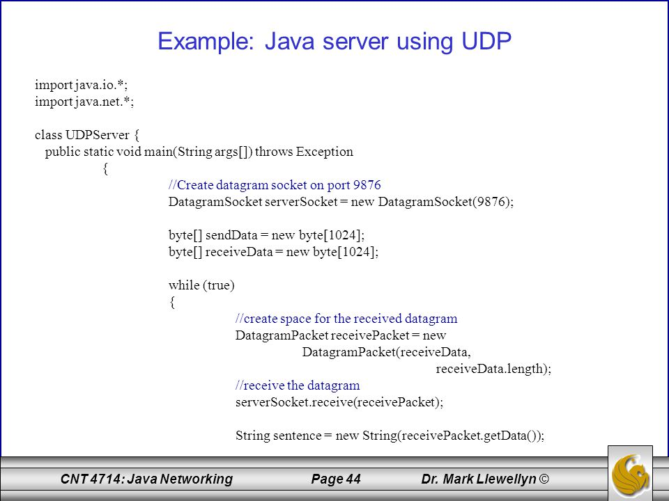 Example: Java server using UDP