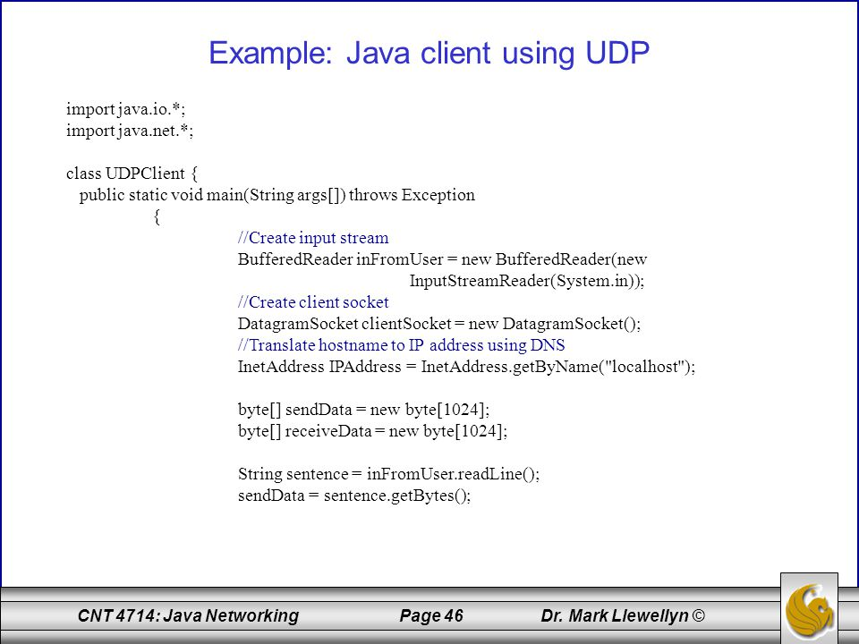 Example: Java client using UDP