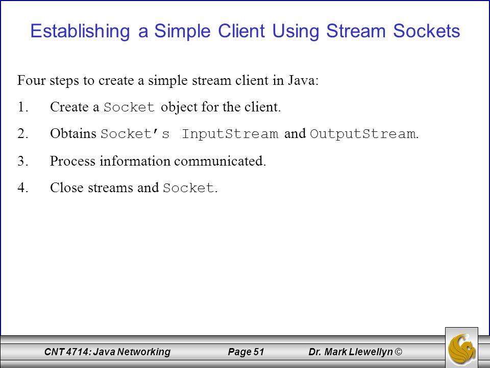 Establishing a Simple Client Using Stream Sockets