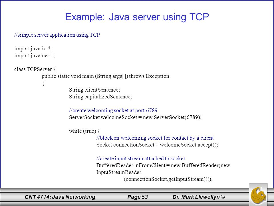 Example: Java server using TCP