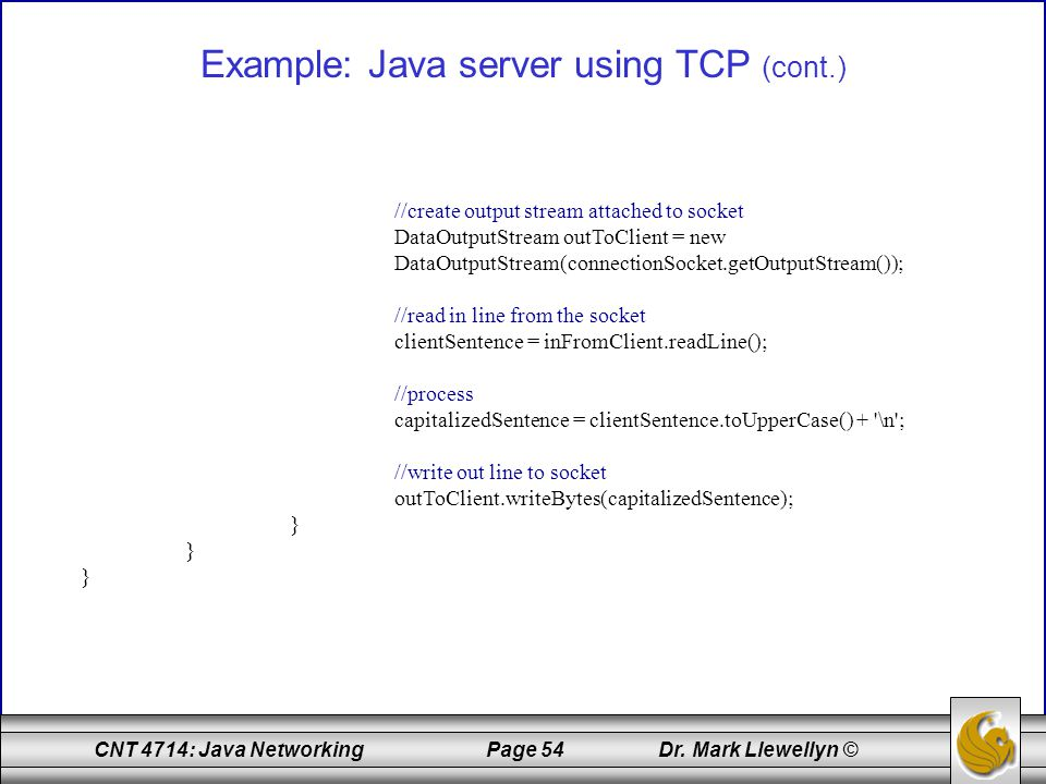 Example: Java server using TCP (cont.)