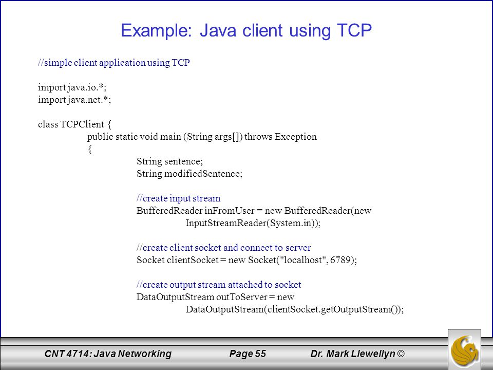 Example: Java client using TCP