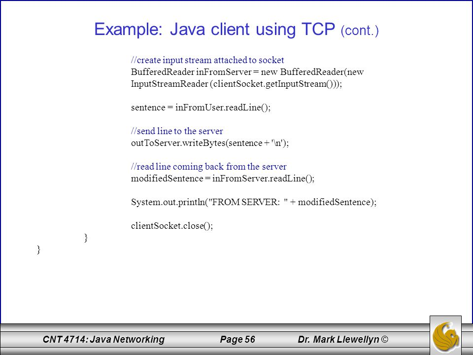 Example: Java client using TCP (cont.)