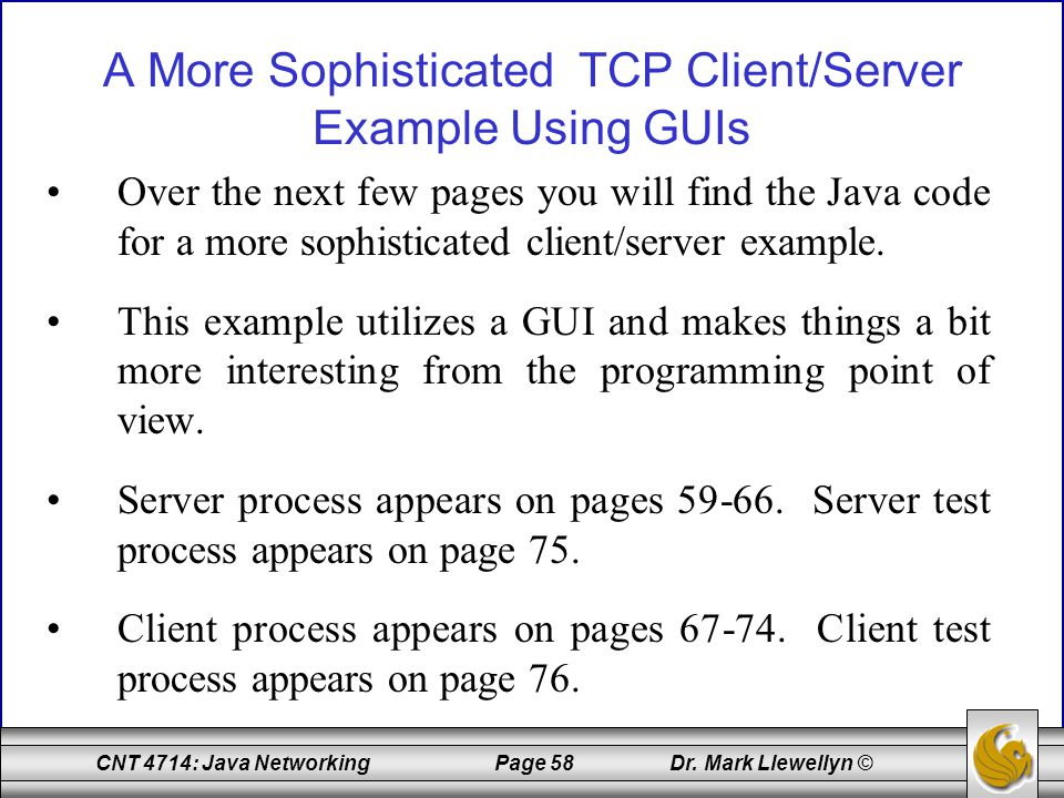 A More Sophisticated TCP Client/Server Example Using GUIs