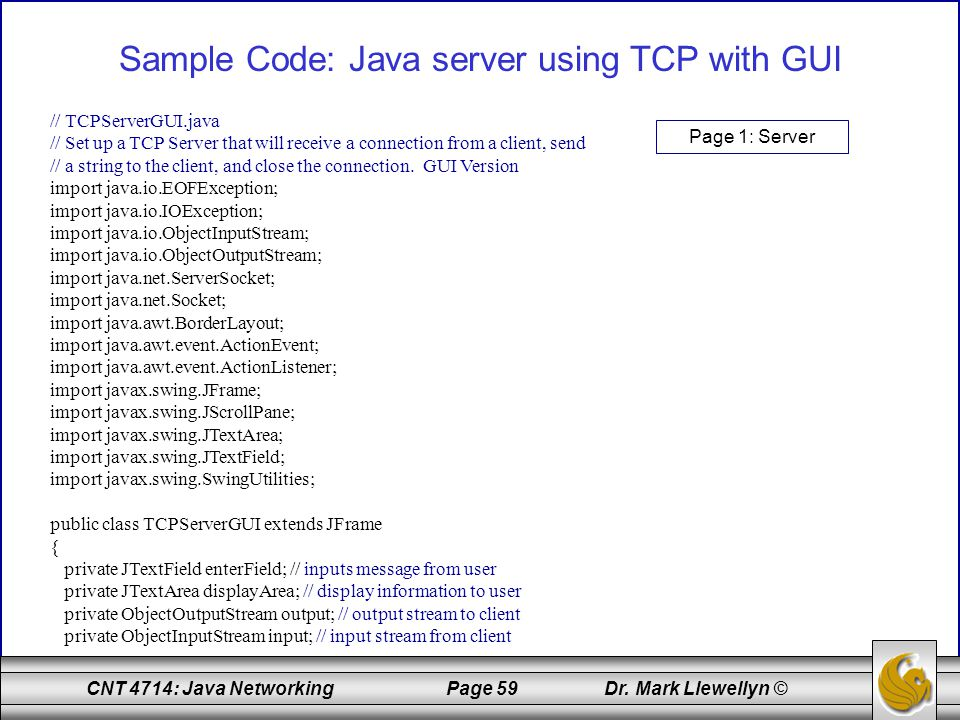Sample Code: Java server using TCP with GUI