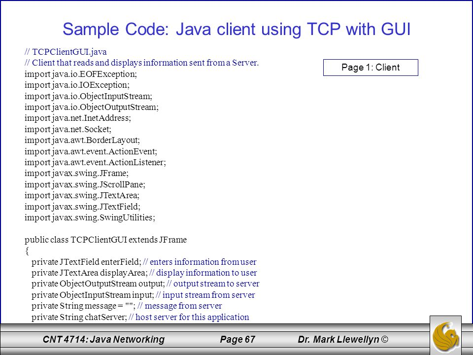 Sample Code: Java client using TCP with GUI