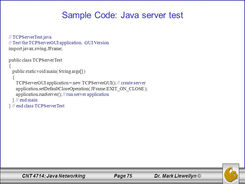 Sample Code: Java server test