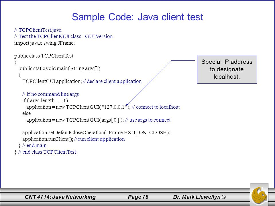 Sample Code: Java client test