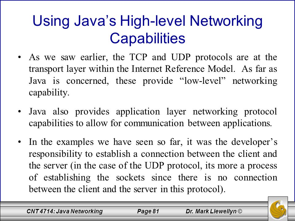 Using Java's High-level Networking Capabilities