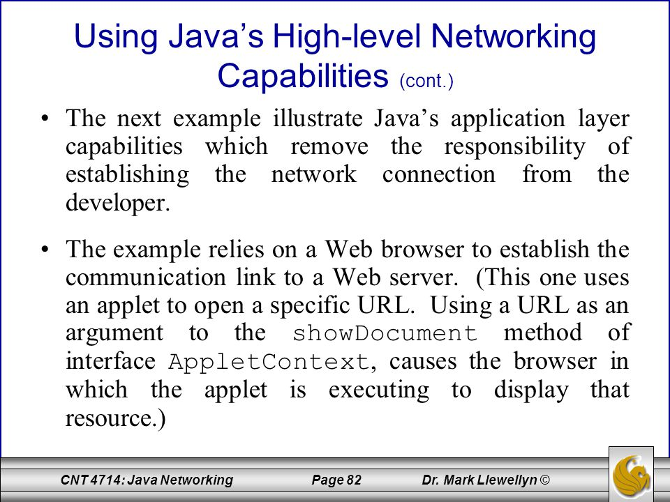 Using Java's High-level Networking Capabilities (cont.)