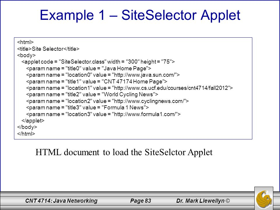 Example 1 – SiteSelector Applet