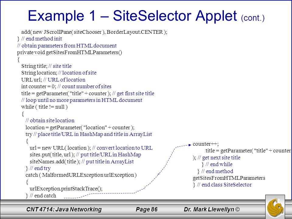 Example 1 – SiteSelector Applet (cont.)