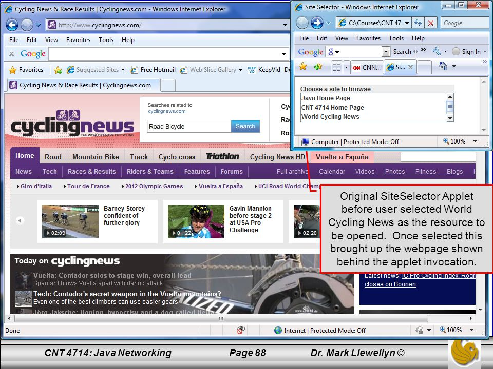 Original SiteSelector Applet before user selected World Cycling News as the resource to be opened.