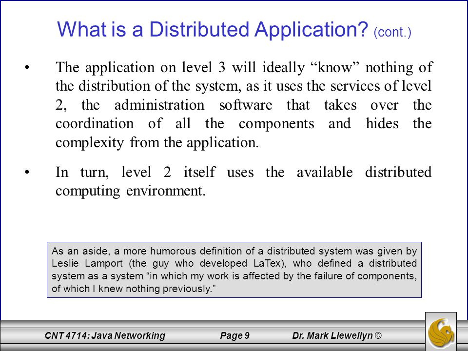 What is a Distributed Application (cont.)
