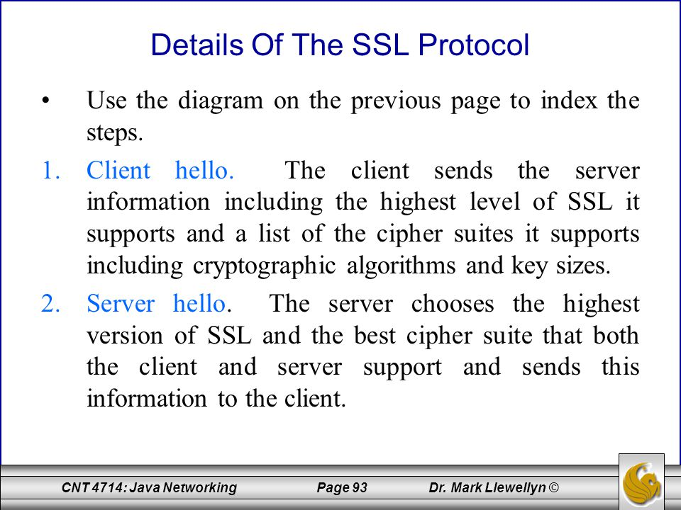 Details Of The SSL Protocol