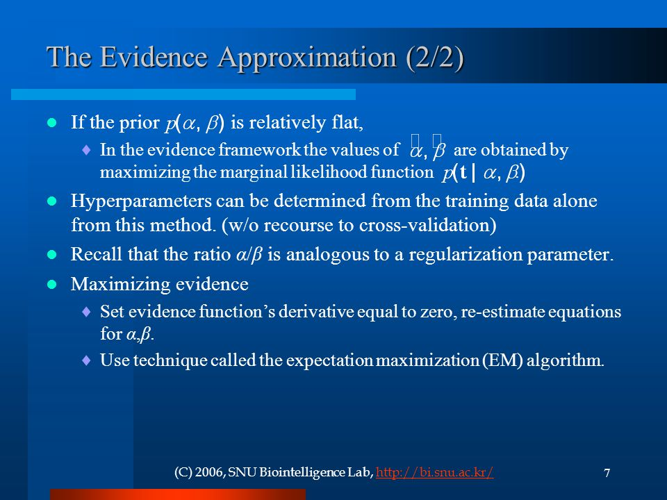 The Evidence Approximation (2/2)