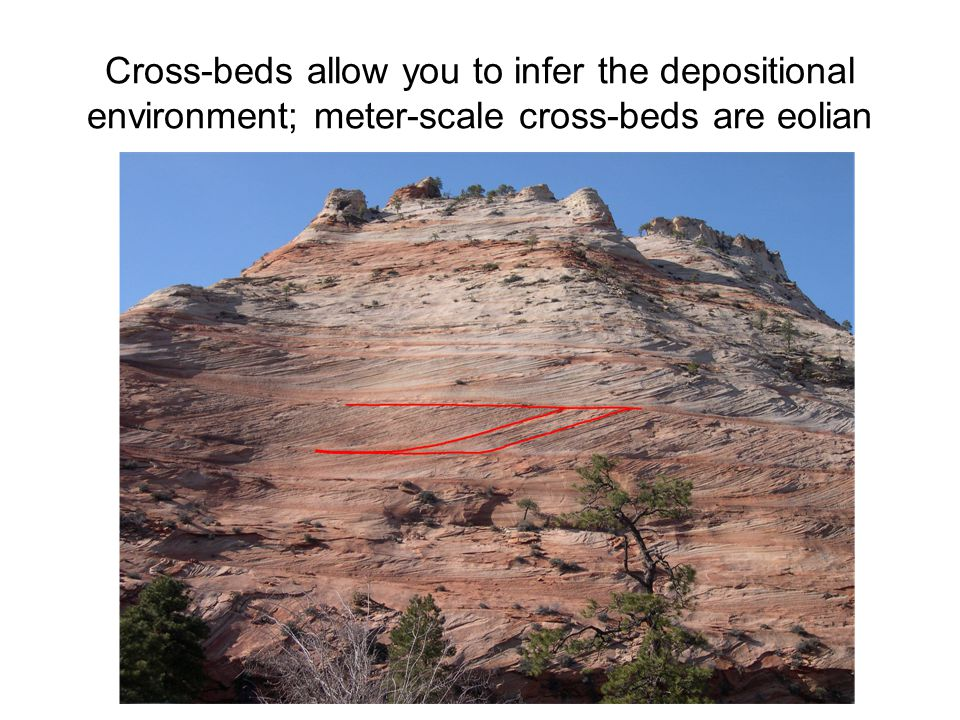 Cross-beds allow you to infer the depositional environment; meter-scale cross-beds are eolian