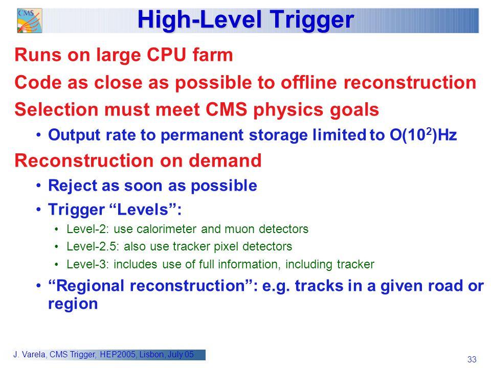 High-Level Trigger Runs on large CPU farm
