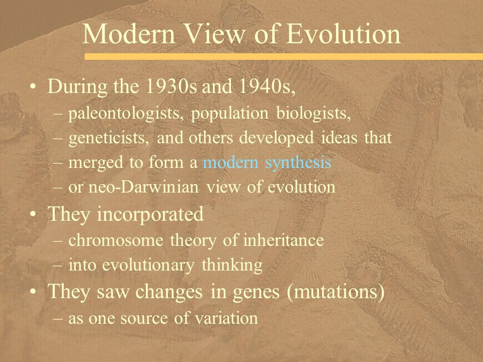Modern View of Evolution