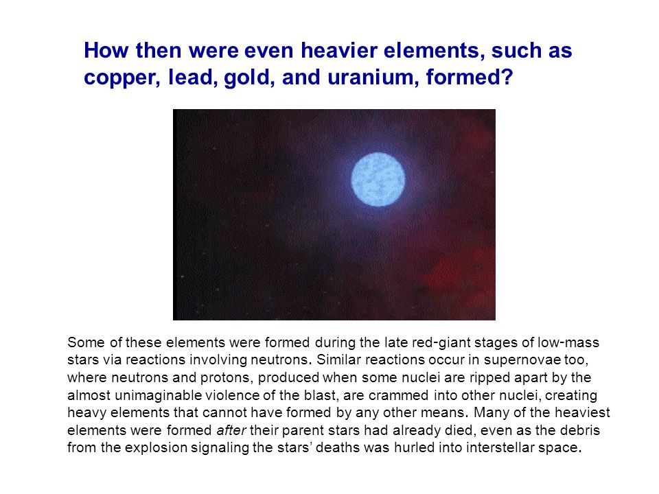 How then were even heavier elements, such as copper, lead, gold, and uranium, formed