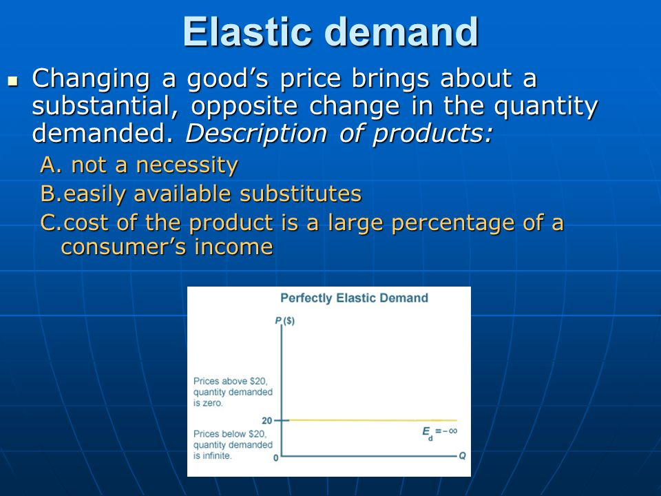 Elastic demand Changing a good's price brings about a substantial, opposite change in the quantity demanded. Description of products: