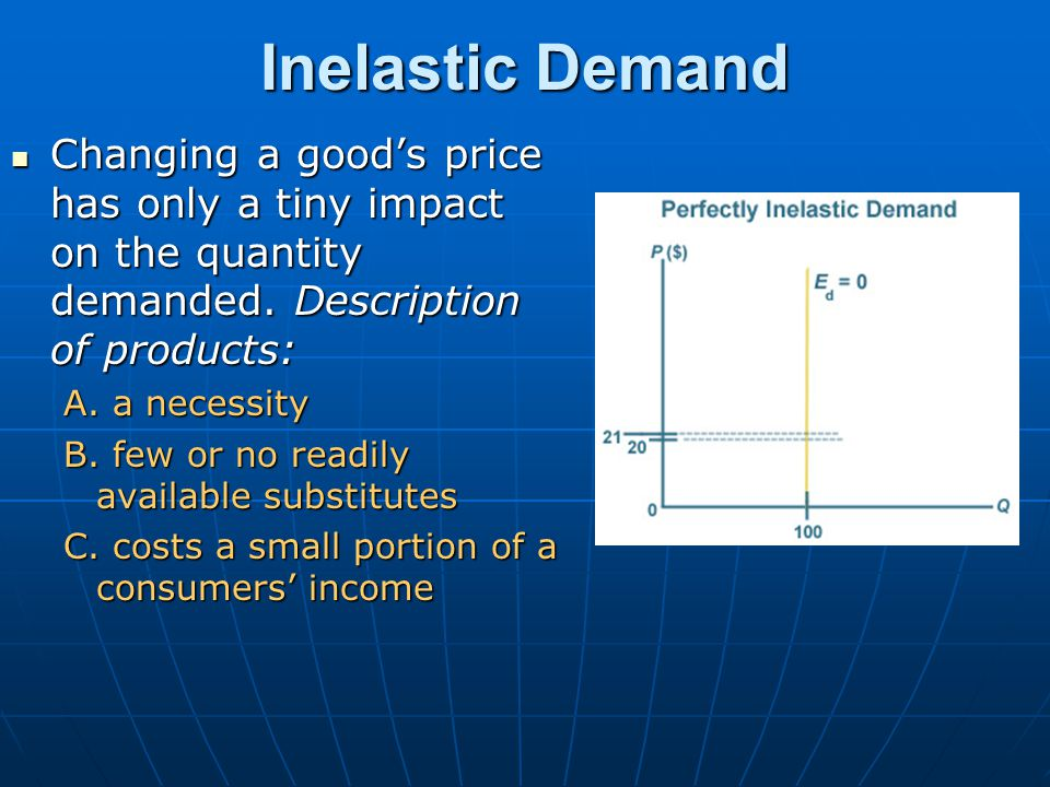 Inelastic Demand Changing a good's price has only a tiny impact on the quantity demanded. Description of products: