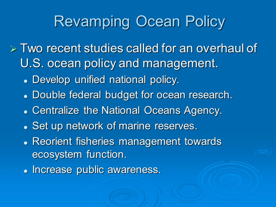 Revamping Ocean Policy