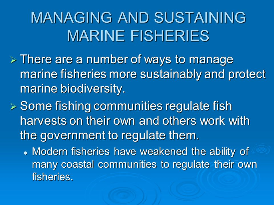 MANAGING AND SUSTAINING MARINE FISHERIES