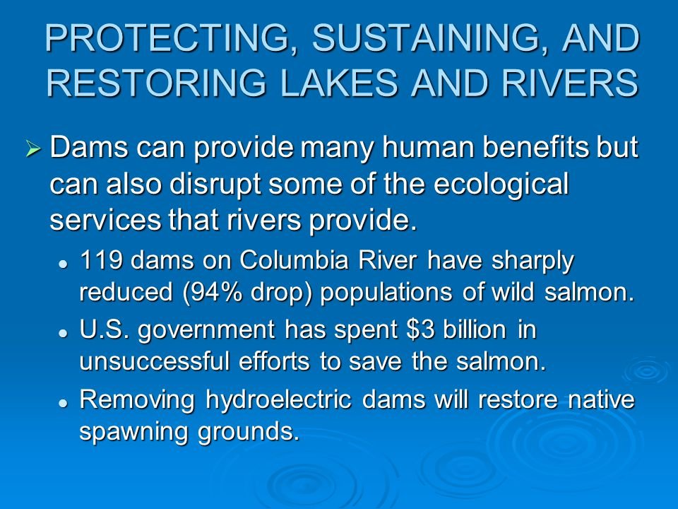 PROTECTING, SUSTAINING, AND RESTORING LAKES AND RIVERS