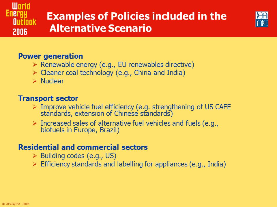 Examples of Policies included in the Alternative Scenario