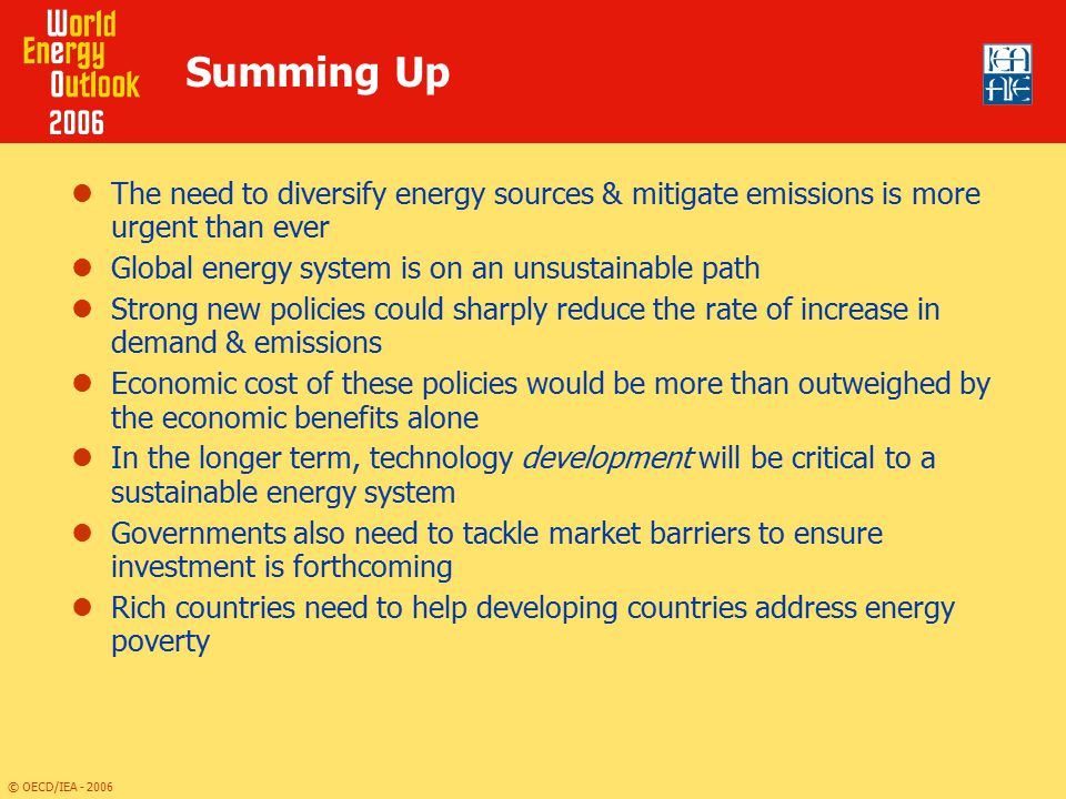 Summing Up The need to diversify energy sources & mitigate emissions is more urgent than ever. Global energy system is on an unsustainable path.