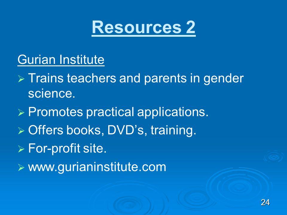 Resources 2 Gurian Institute
