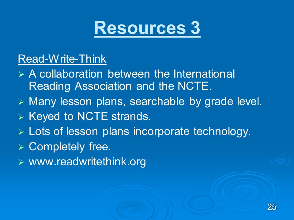 Resources 3 Read-Write-Think