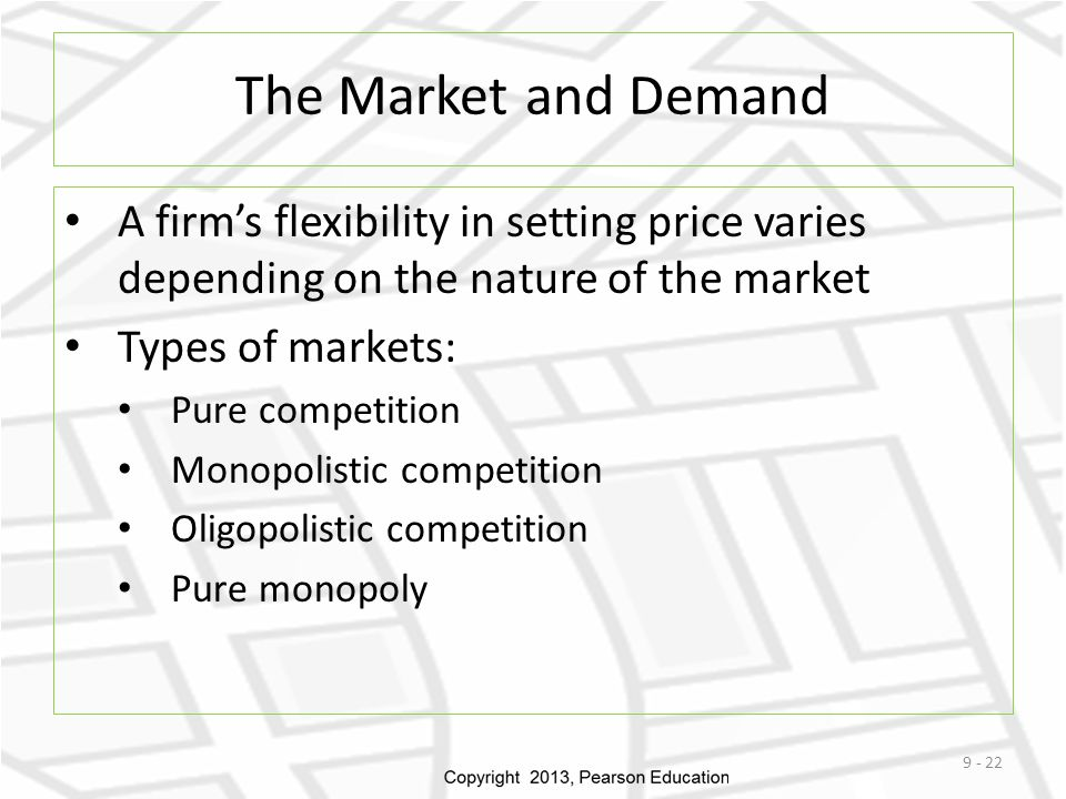 The Market and Demand A firm's flexibility in setting price varies depending on the nature of the market.