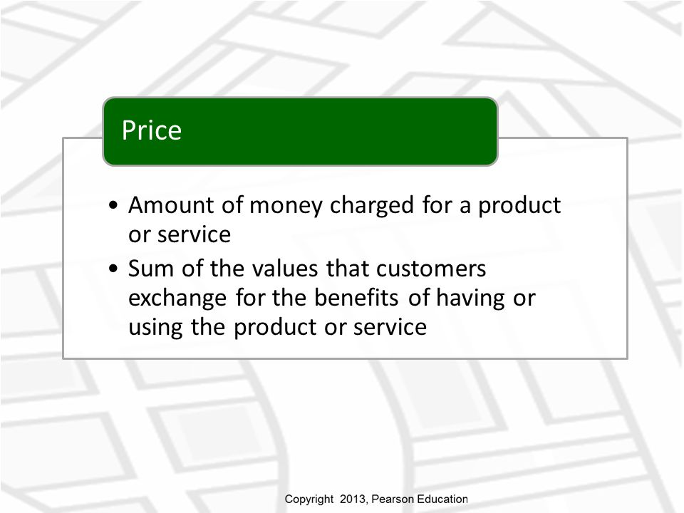Price Amount of money charged for a product or service